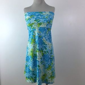 Lilly Pulitzer Blue Floral Petula Strapless Dress